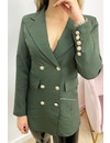 KHAKI GREEN - 'CHRYSTEL' - DOUBLE BREASTED GOLD BUTTON BLAZER DRESS