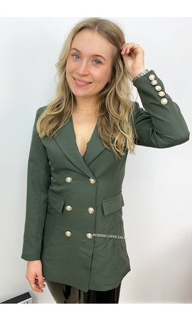 KHAKI GREEN - 'CHRYSTEL' - DOUBLE BREASTED GOLD BUTTON BLAZER DRESS