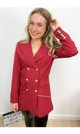 WINE RED - 'CHRYSTEL' - DOUBLE BREASTED GOLD BUTTON BLAZER DRESS