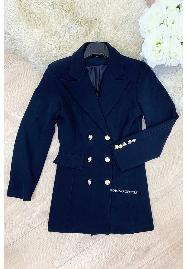 NAVY BLUE - 'CHRYSTEL' - DOUBLE BREASTED GOLD BUTTON BLAZER DRESS