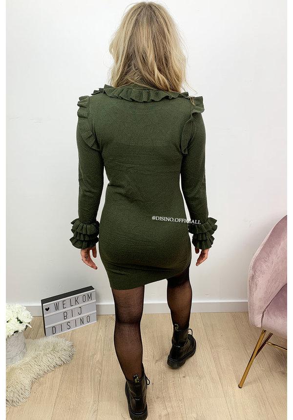 KHAKI GREEN - 'OLSEN DRESS' - INSPIRED SOFT RUFFLE DRESS