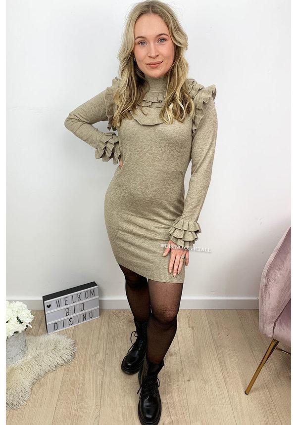 BEIGE - 'OLSEN DRESS' - INSPIRED SOFT RUFFLE DRESS