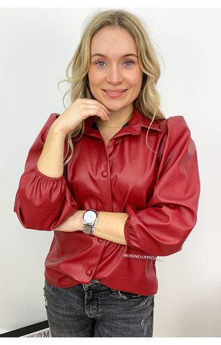 WINE RED - 'LEAH' - VEGAN LEATHER PUFF SLEEVE BLOUSE