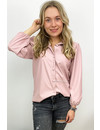 PINK - 'LEAH' - VEGAN LEATHER PUFF SLEEVE BLOUSE