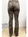 BEIGE - 'GABY FLARE' - SUEDINE LEOPARD PRINT FLARED PANTS