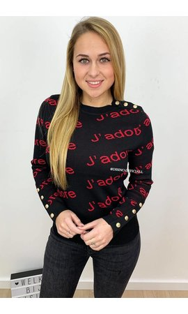 RED - 'CLAIRE' - JADORE GOLD BUTTON PREMIUM QUALITY SWEATER