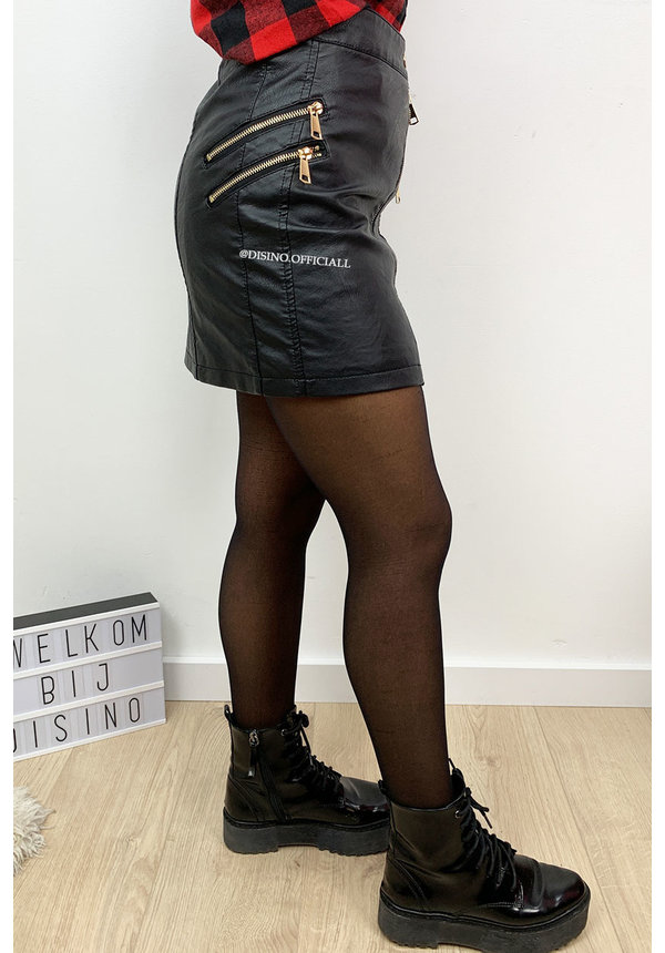BLACK - 'LUXOR' - CROSS ZIPPED LEATHER SKIRT