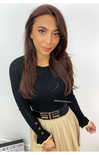 BLACK - 'LUANA' - RIBBED BELL SLEEVE TOP GOLD BUTTON