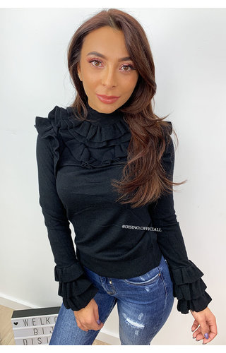 BLACK - 'OLSEN TOP' - SOFT TOUCH RUFFLE TOP