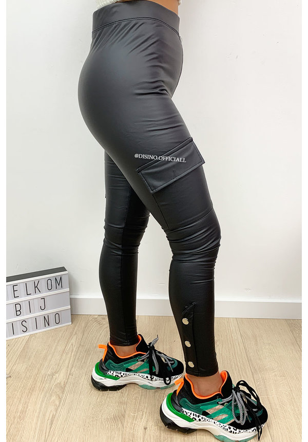 BLACK - 'KAYLEY' - HIGH WAIST VEGAN TREGGING CARGO PANTS