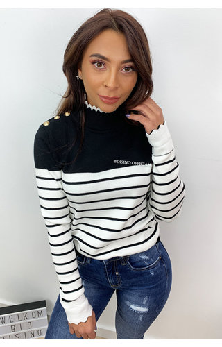 BLACK - 'VANESS' - CUTE STRIPED GOLD BUTTON TOP