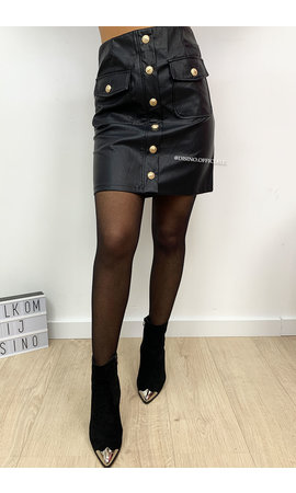 BLACK - 'DIOZA 2.0' - GOLD BUTTON SKIRT
