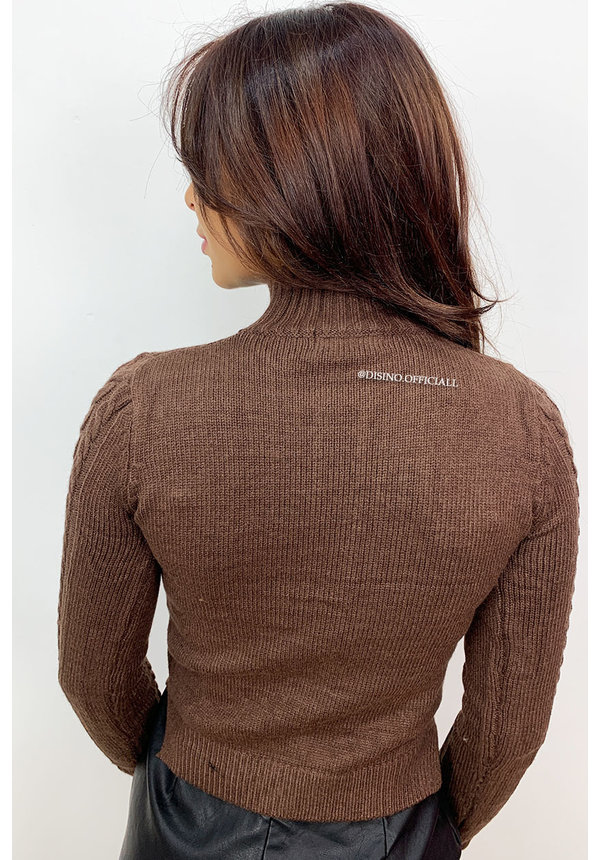 BROWN - 'CELINE' - SOFT TOUCH CABLE SWEATER