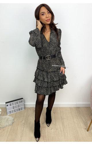 BLACK - 'IRIS' - LEOPARD PRINT LONG SLEEVE RUFFLE DRESS