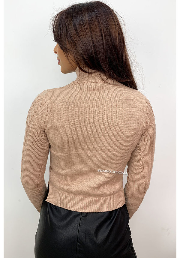 BEIGE - 'CELINE' - SOFT TOUCH CABLE SWEATER
