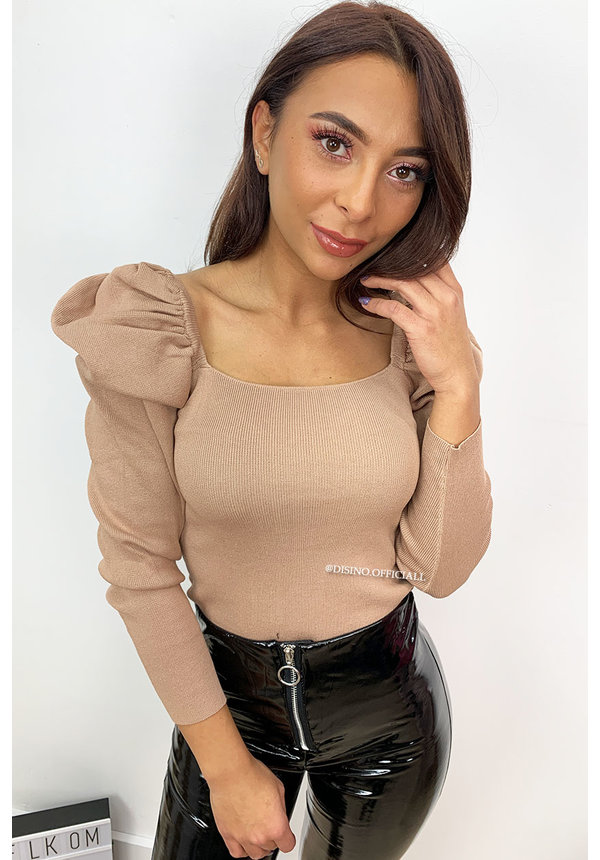 BEIGE - 'COCO' - PUFF SHOULDER TOP