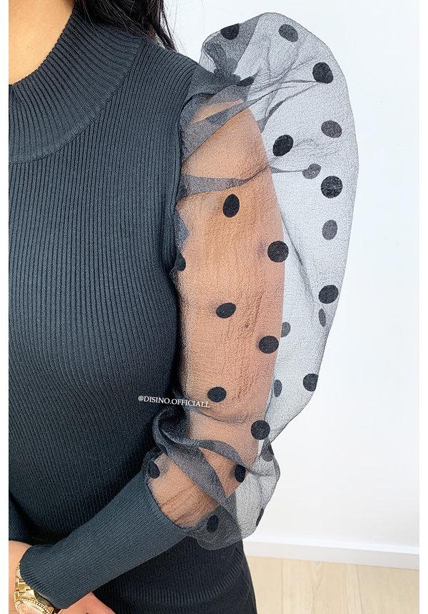 BLACK - 'SKYLA' - MESH DOTTED PUFF SLEEVE DRESS