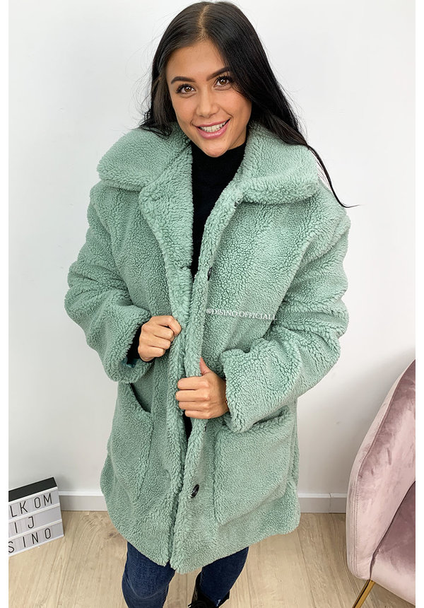 TURQUOISE - 'WINNIE' - SUPER SOFT OVERSIZED TEDDY COAT