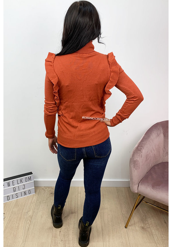 RUST - 'ROMY COL' - SOFT TOUCH RUFFLE COL TOP