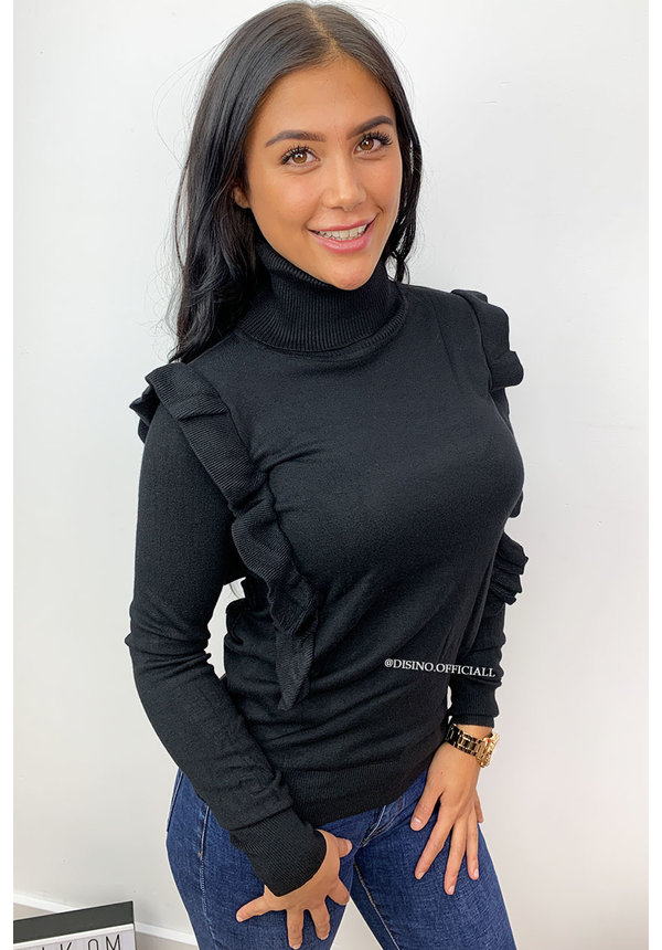 BLACK - 'ROMY COL' - SOFT TOUCH RUFFLE COL TOP