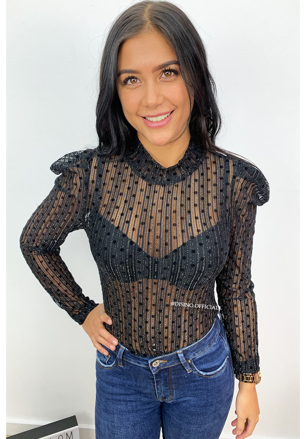 BLACK - 'IVY' - STRIPED 'N DOTTED MESH TOP