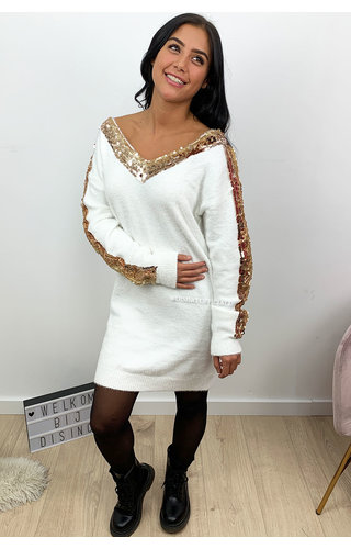 WHITE - 'MILENA' - SOFT TOUCH APPLICATION SLEEVE DRESS