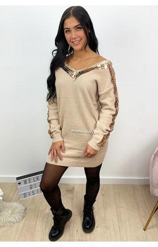 BEIGE - 'MILENA' - SOFT TOUCH APPLICATION SLEEVE DRESS
