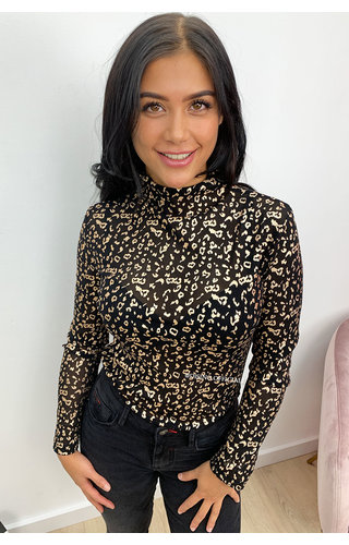 GOLD - 'JAZZLYN' - GOLD LEOPARD MESH TOP