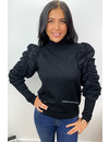 BLACK - 'ALISHA' - SOFT TOUCH PUFF SHOULDER