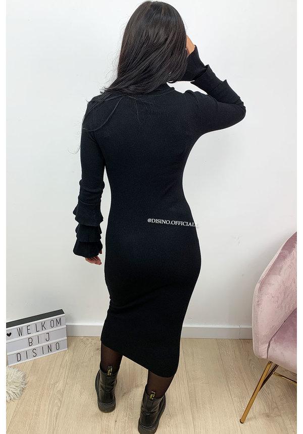 BLACK - 'TRUMPET DRESS' - SOFT TOUCH COL TRUMPET SLEEVE DRESS