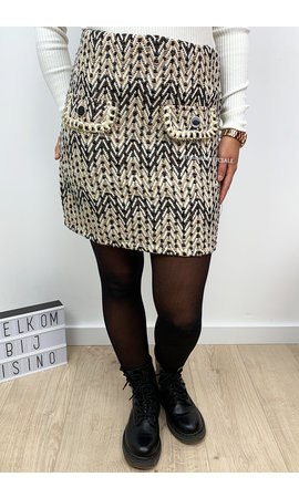 BEIGE - 'PEGGY' - TWEED ZIGZAG SKIRT