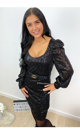 BLACK - 'GLAMMY' - ALL OVER SEQUIN  DRESS