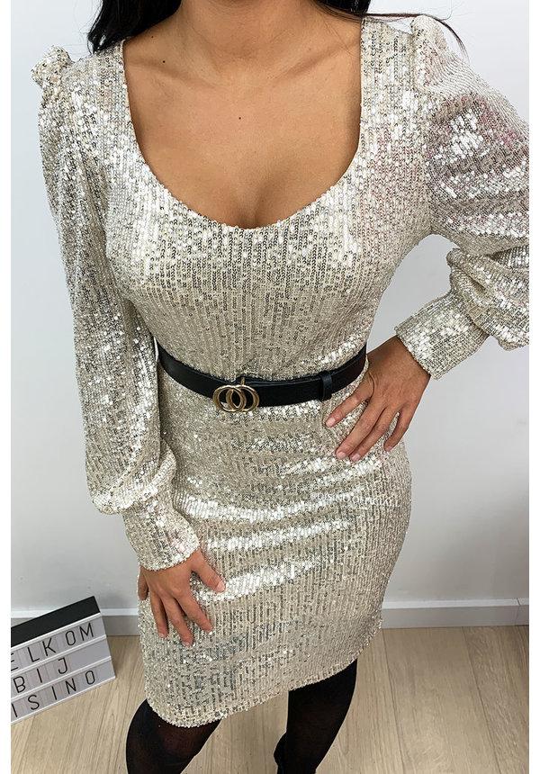 BEIGE - 'GLAMMY' - ALL OVER SEQUIN  DRESS