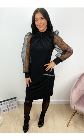 BLACK - 'CARINA' - GLITTER DOT MESH PUFF SLEEVE DRESS
