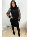 BLACK - 'CARINA' - GLITTER DOT MESH PUFF SLEEVE DRESS