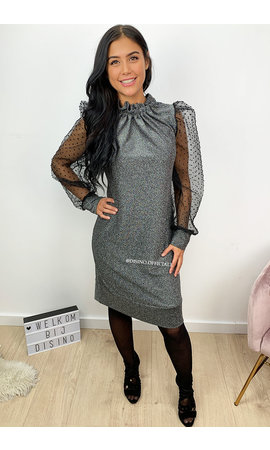 SILVER - 'CARINA' - GLITTER DOT MESH PUFF SLEEVE DRESS