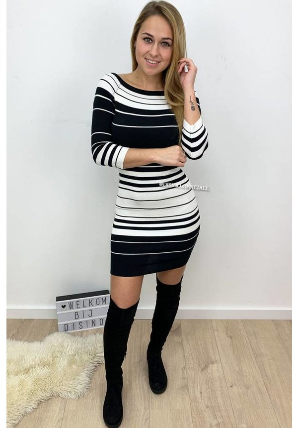 BLACK - 'SERRA' - STRIPED OFF SHOULDER DRESS
