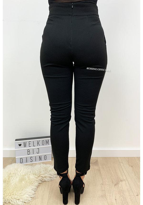 BLACK - 'CHRISSY' - CROSS OVER HIGH WAIST PANTS