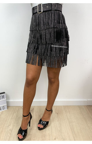 BLACK - 'PRINCE SKIRT' - ALL OVER FRINGE SKIRT