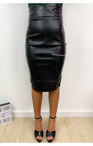 BLACK - 'ASHLEY' - HIGH WAIST LEATHER LOOK PENCIL MIDI SKIRT