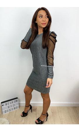 SILVER - 'MIA' - MESH SLEEVE SPARKLE DRESS