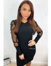BLACK - 'MIA' - MESH SLEEVE SPARKLE DRESS