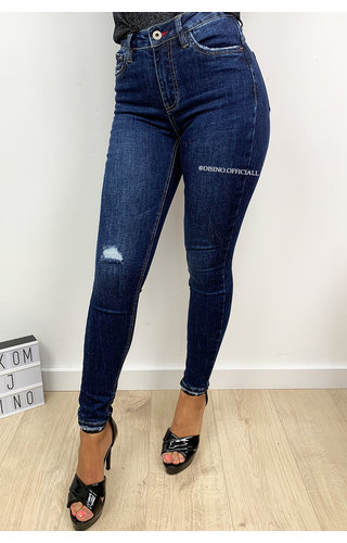 QUEEN HEARTS JEANS - DARK BLUE - PERFECT DISTRESSED SKINNY PUSH UP - 9515