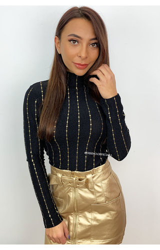 BLACK - 'GISELLE' - GOLD VERTICAL STRIPED MESH TOP
