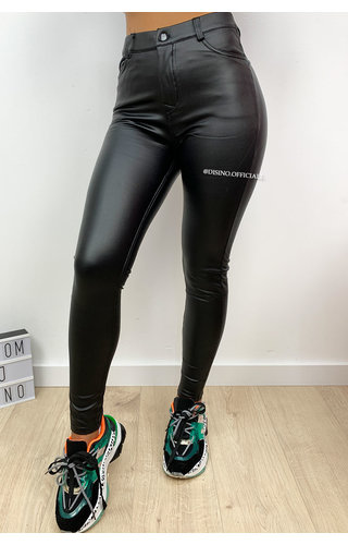 BLACK - 'BELLA' - VEGAN LEATHER LEGGING PANTS