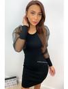 BLACK - 'RUSEN' - RIBBED MESH PUFF DRESS