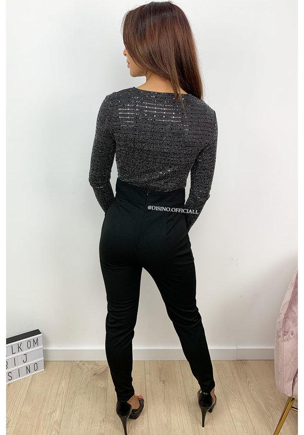 BLACK - 'JOANNA' - SPARKLE LAYERED BODYSUIT