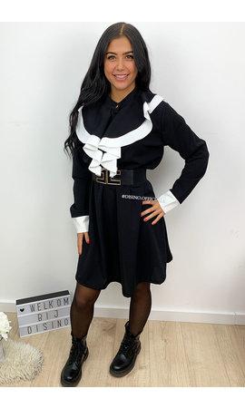 BLACK - 'ZOEY' - RUFFLE A-LINE DRESS
