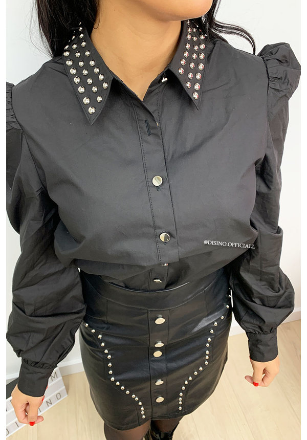 BLACK - 'JANNET BLOUSE' - STUDS BLOUSE PUFF SLEEVE