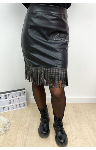 BLACK - 'PRINCE SKIRT' - VEGAN LEATHER FRINGE SKIRT